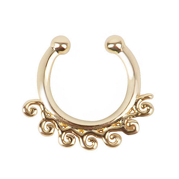 Gold Surf Waves Septum Jewelry