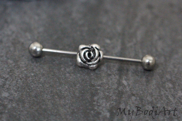 Antiqued Rose Industrial Barbell Scaffold Earring Piercing Jewelry - www.MyBodiArt.com