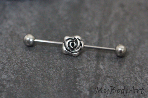 Rassy Rose Industrial Piercing Barbell
