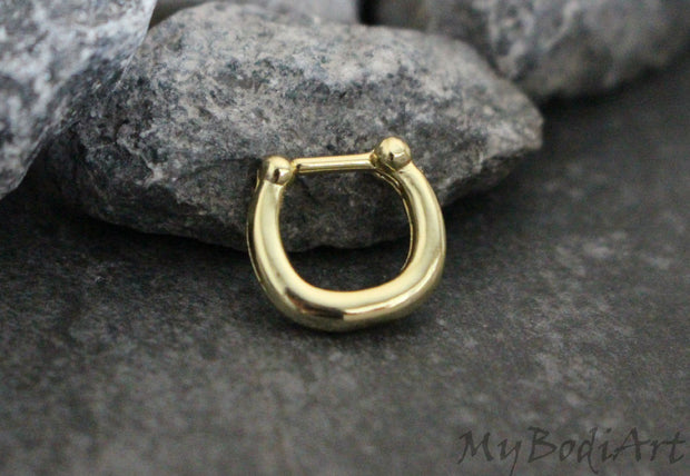 Gold 16G Septum Piercing, Daith Earring, Nipple Hoop