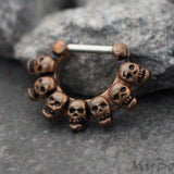Skull Septum Ring, Silver Septum Clicker, Daith Piercing, Conch Hoop, Daith Earring, Conch Piercing, Septum Jewelry, Daith Jewelry, Conch