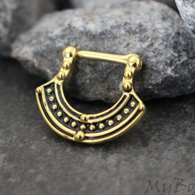 Tribal Septum Piercing Jewelry in Gold at MyBodiArt.com
