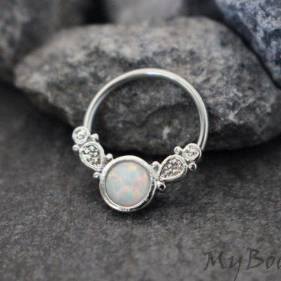 Opal Septum Ring, Daith Piercing, Rook Earring, Nipple Ring