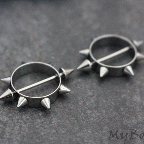 Spiky Nipple Rings 16G, Silver Nipple Piercings, Body Jewelry, Body Jewellery, 316L Surgical Stainless Steel, Barbell, Bar, Cones, Spikes