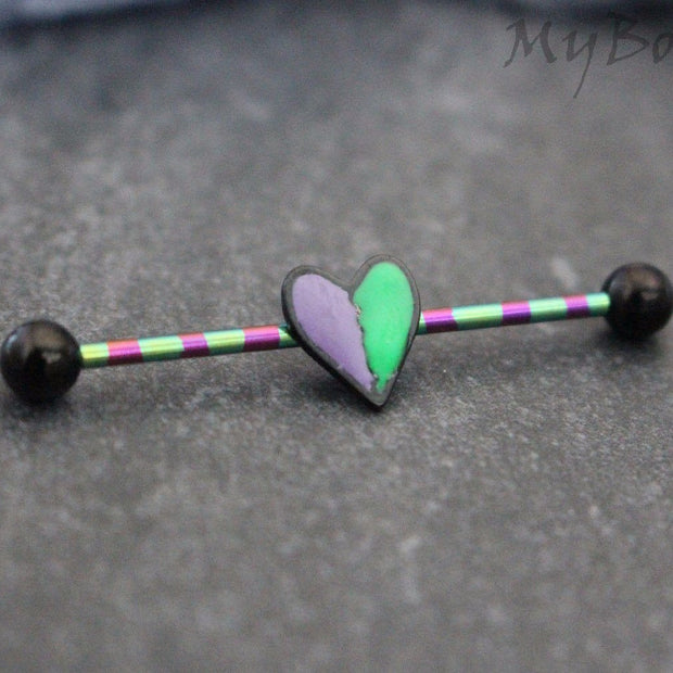 Heart Industrial Barbell Earring, Industrial Piercing Jewelry, Scaffold Earring, 14g Barbell, 14 Gauge, Striped, Gothic, Tribal, Black, Scaffold Piercing, Scaffold Earring, Industrial Piercing, Industrial Jewelry, Industrial Jewellery, Barbell Earrings
