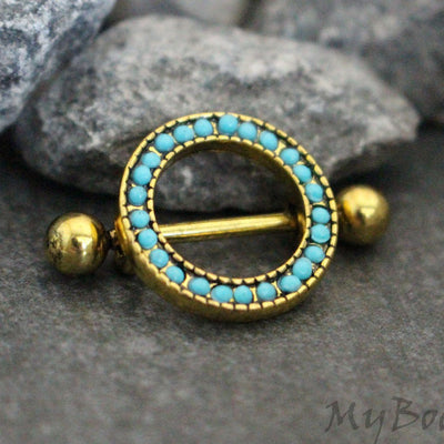 14G Golden Tribal Turquoise Nipple Rings, Nipple Jewelry, Nipple Piercing, Nipple Jewellery, Nipple Bar, Nipple Barbell, Nipple Shield Hoop