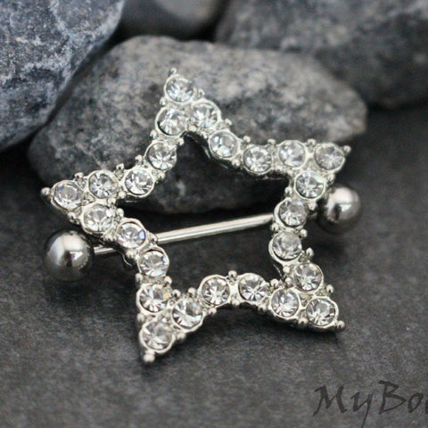 Crystal Star Nipple Rings in 14 Gauge Silver