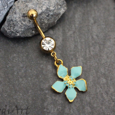 Mint Flower Navel Ring, Belly Button Rings Gold, Dangle Belly Ring, Navel Piercing, Navel Ring, Navel Jewelry, Belly Button Jewelry