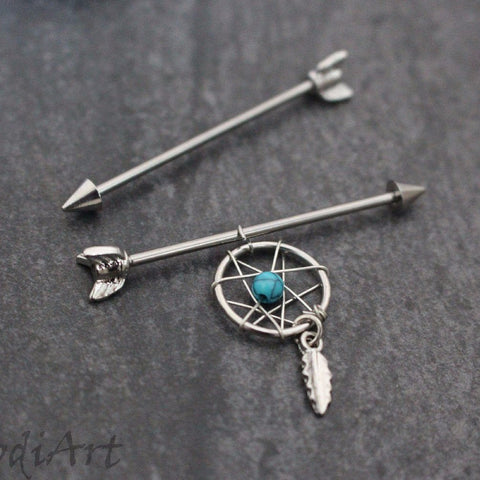 Arrow Industrial Piercing with Dreamcatcher Charm