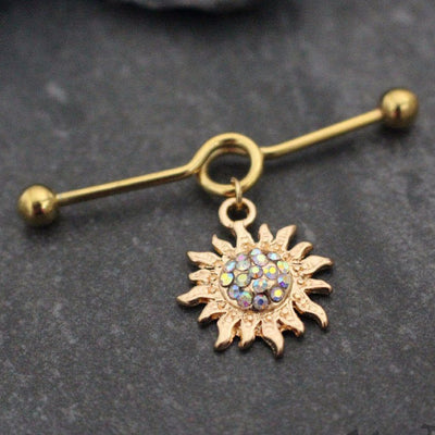 Golden Flaming Sun Industrial Piercing Jewelry in 14 Gauge Gold Straight Barbell