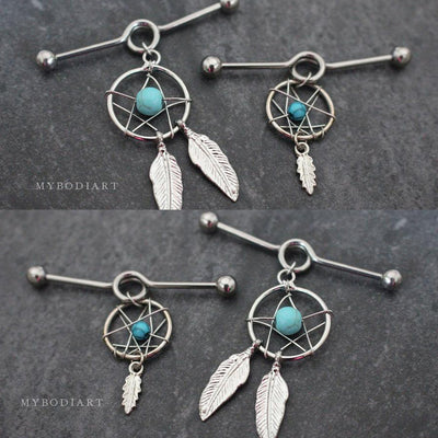 Beautiful Tribal Ethnic Boho Turquoise Dreamcatcher Dangle Charm Industrial Ear Piercing Jewelry Scaffold Earring Barbell 14G for Women - www.MyBodiArt.com