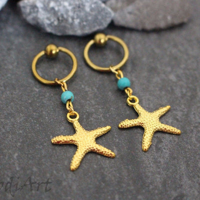 Turquoise Nipple Rings 14g, Star Nipple Jewelry Gold, Captive Bead Ring Hoop, Body Jewelry, Body Piercing, 14 gauge, Starfish, Star Fish