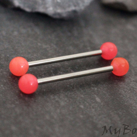 Pink Nipple Barbell, Silver Nipple Piercing, Silver Barbell, Straight Piercing, Straight Bar, Body Jewelry, Neon Pink, Body Modification