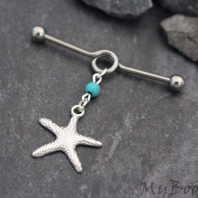 Turquoise Industrial Barbell, Silver Industrial Piercing Jewelry, Scaffold Earring, Scaffold Barbell, Starfish Jewellery, Star Fish Charml