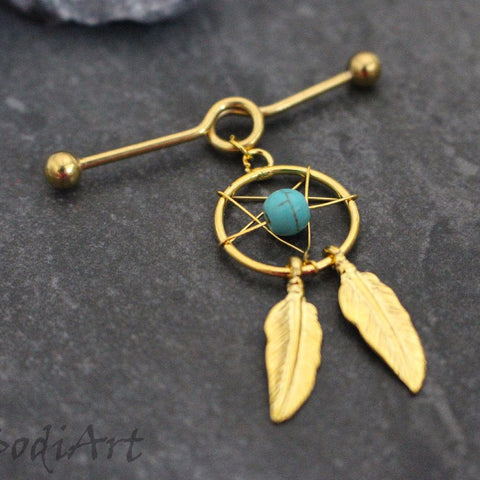 Dreamcatcher Industrial Barbell with Turquoise Beads