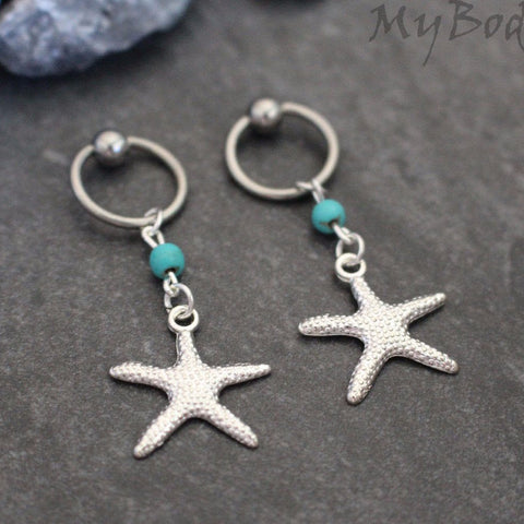 Starfish Nipple Ring Hoop, Star Belly Button Hoop, Silver Nipple Hoop, Star Fish Belly Jewellery, Captive Bead, 14 Gauge, 14G,Turquoise Bead