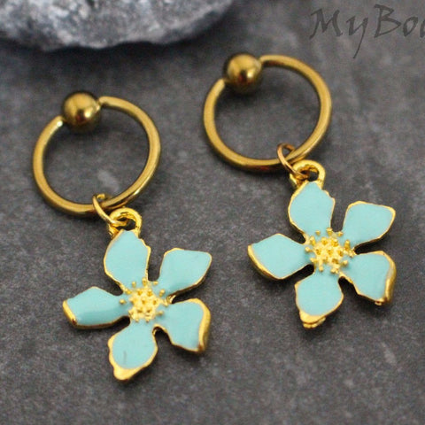 Turquoise Nipple Jewelry, Gold Nipple Piercings, Flower Belly Button Rings, Fleur Belly Button Jewelry, Captive Bead Hoop, Body Piercing