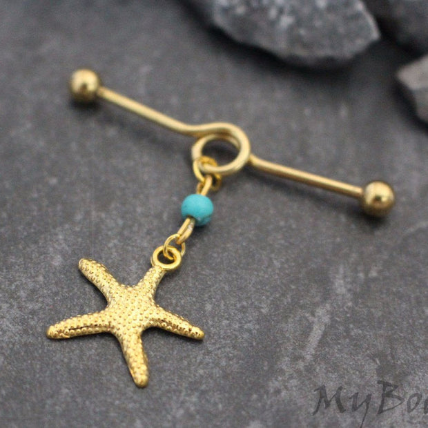 Starfish Industrial Piercing Jewelry, Gold Industrial Barbell, Turquoise Scaffold Jewelry, Star Fish Scaffold Earring, Turquoise Bead