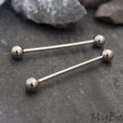 14G Nipple Barbell, Tongue Piercing, Straight Barbell
