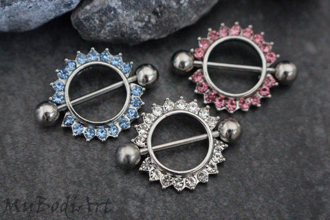 Round Crystal Nipple Rings in Clear, Blue, Pink in 14G 316L Surgical Stainless Steel