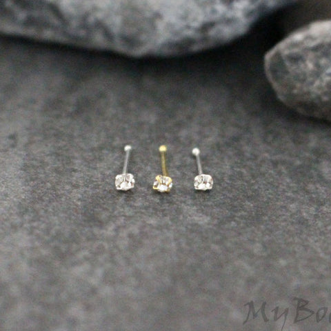 Classic Nose Stud Gold Silver, Crystal Nose Bone, Tragus Piercing, Tiny Cartilage Earring, Helix Piercing, Conch Stud, Earrings, 1.8mm Cubic Zirconia, 0.925 Sterling Silver, Ball End, Diamond, Crystal, 20 Gauge, 0.81mm