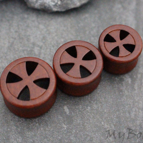 Wooden Ear Plugs, Cross Ear Gauges, Wooden Flesh Tunnels, Flesh Plugs, Tribal Organic Gauges, Stretchers, Tribal Earrings, Dark Wood