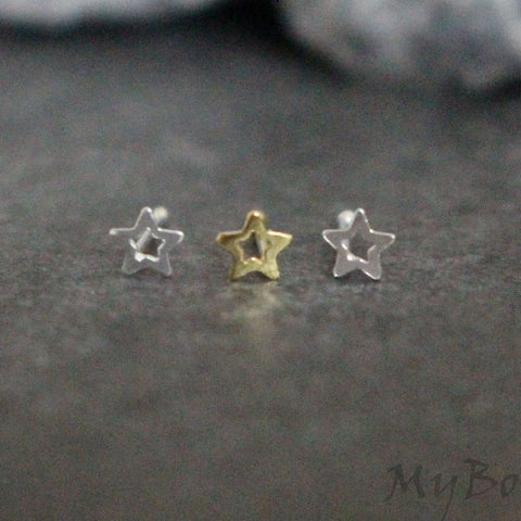 Star Nose Bone, Stars Nose Stud, Silver Piercing, Gold Piercing, 0.925 Sterling Silver, Hollow Star, Tiny Tragus Stud, Small Cartilage Stud