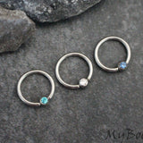 Crystal Captive Bead Ring Hoop 16G in Silver