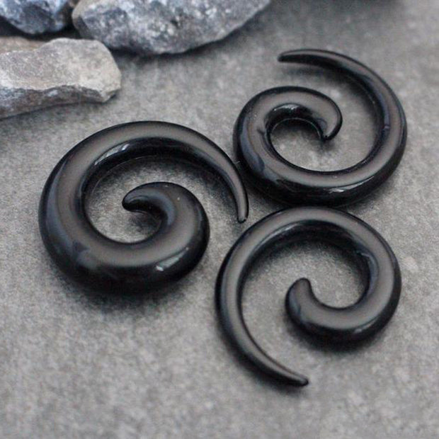 Black Acrylic Spiral Ear Gauge Earrings  - www.MyBodiArt.com