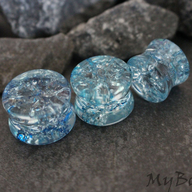 Shattered Glass Ear Plugs, Blue Flesh Plugs, Ear Tunnels, Flesh Tunnels, Eyelet, Gauge Earring, Ear Gauges, Tunnel Plugs, Organic Gauges
