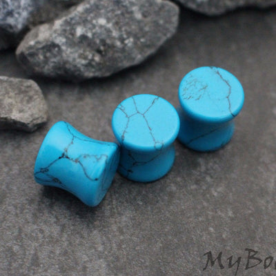 Turquoise Ear Tunnels, Stone Ear Plugs, Stone Gauges, Ear Gauges, Flesh Tunnels, Flesh Plugs, Organic Gauges, Eyelet, Gauge Earrings, Plugs
