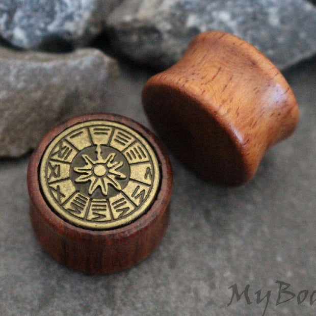 Sundial Ear Tunnel, Wood Gauges, Wooden Plugs, Ear Stretchers, Ear Expander, Gages, Ear Gauges, Ear Plugs, Flesh Tunnels, Flesh Plugs