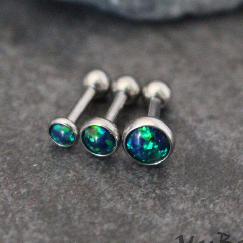 Emerald Opal Barbell Piercing 16G for Tragus Earring, Helix Earring, Helix Piercing, Conch Piercing, Conch Earring, Cartilage Barbell, Cartilage Piercing, Tragus Bar, Tragus Jewelry, Triple Helix Piercing