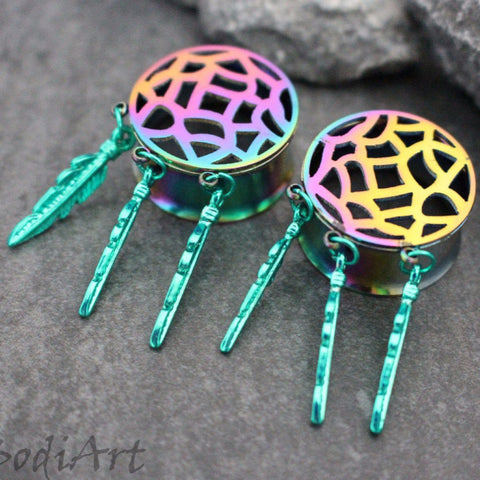 Rainbow Filigree Dreamcatcher Ear Gauges, Ear Plugs, Ear Tunnels, Flesh Tunnels, Organic Gauges, Steel Tunnels, Steel Plugs, Steel Gauges, Flesh Gauge, Flesh Plugs,