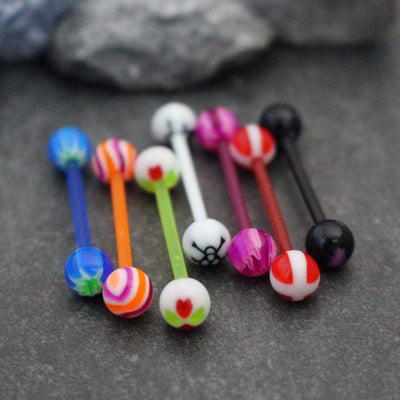 Nipple Jewelry, Nipple Bar, Tongue Bar, Tongue Ring, Tongue Piercing, Nipple Barbell, Body Jewelry, Acrylic Barbell, UV Acrylic, Plastic