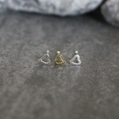 20G Heart Nose Stud in Silver or Gold