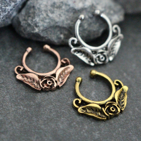 Tribal Rose Fake Septum Ring - Septum Jewelry at MyBodiArt.com