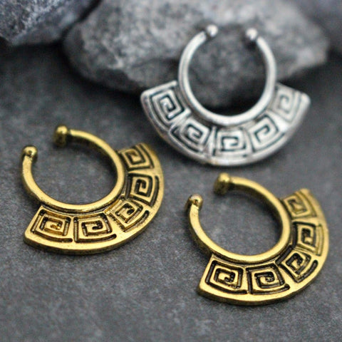Tribal Fake Septum Ring, Fake Septum Piercing, Faux Septum Ring, Fake Septum Ring, Clip On, Non Piercing, Fake Piercing, Septum Clip On