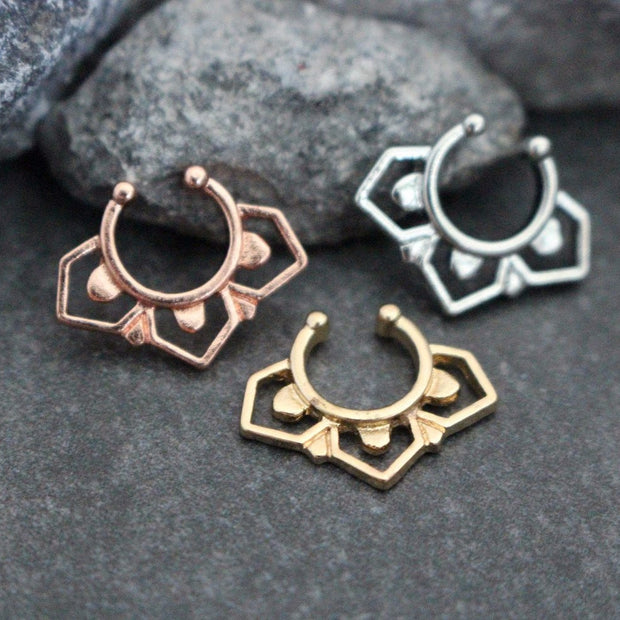 Rose Gold Septum Jewelry, Rose Gold Septum Ring, Fake Septum Ring, Fake Septum Piercing, Faux Septum Ring, Septum Clip On, Fake Piercing