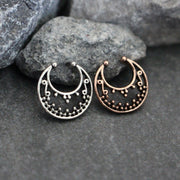 Tribal Septum Ring, Fake Septum Piercing, Septum Clip On, Septum Jewelry, Septum Jewellery, Silver, Rose Gold