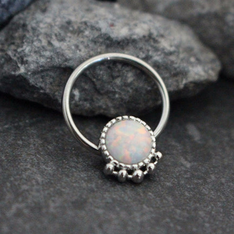 Opal Septum Piercing, Septum Jewellery, Conch Hoop, Conch Piercing, Daith Ring, Daith Jewelry, Purple Opal, Purple Opalite, Septum Ring