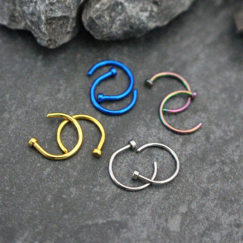 20G Nose Ring Hoop, Nose Hoop, Lip Ring, Lip Piercing, Nose Cuff, Nose Ring, Lip Piercing Jewelry, Nose Piercing,Nose Jewelry in Gold or Silver or Rainbow or Blue
