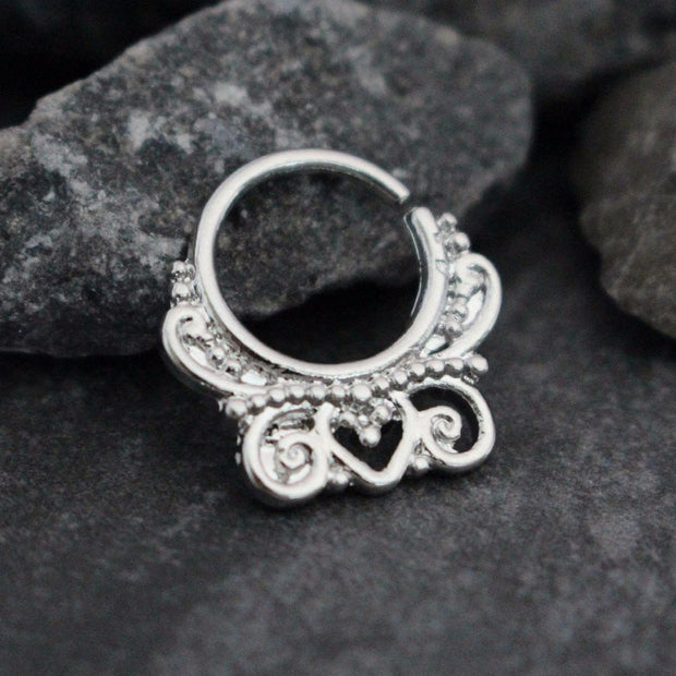 Silver Septum Ring, Septum Cuff, Septum Jewelry, Daith Piercing, Helix Piercing, Daith Ring, Helix Ring, Conch Earring, Orbital Piercing