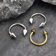 Arrowhead Horseshoe Barbell in 16G Gold or Silver for Septum Piercing, Eyebrown Ring, Daith Earring, Rook Earring, Lip Piercing, Nipple Jewelry, Septum Jewelry.