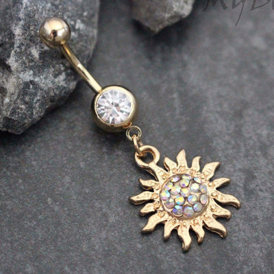 Flaming Sun Belly Button Ring in Gold with Aurora Borealis Crystals