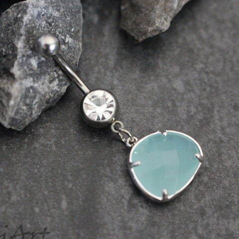 turquoise gemstone belly button ring in silver
