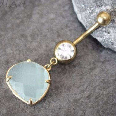 turquoise gemstone belly button ring