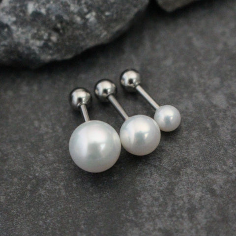 16G Pearl Silver Barbell for Tragus Earring, Conch Piercing, Cartilage Stud, Helix Jewelry, Forward Helix, Triple Helix etc.