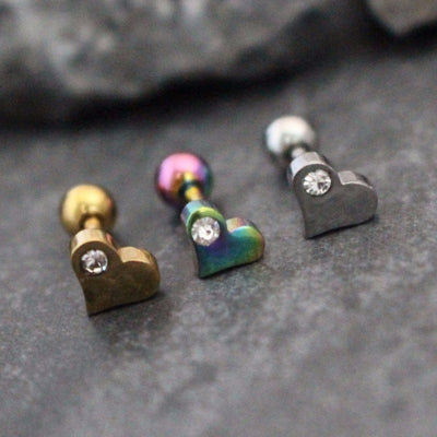 Heart Tragus Barbell, Cartilage Earring, Helix Piercing in 16G Gold, Silver, Rainbow