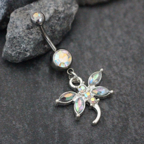 Dragon Fly Belly Button Rings with Aurora Borealis Crystals